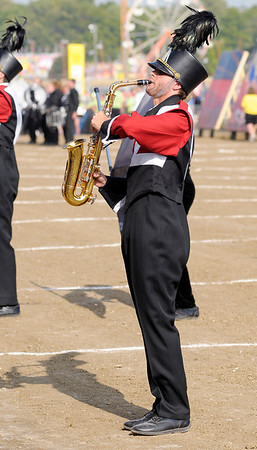 Joseph Reed performs with the Marching Eagles.