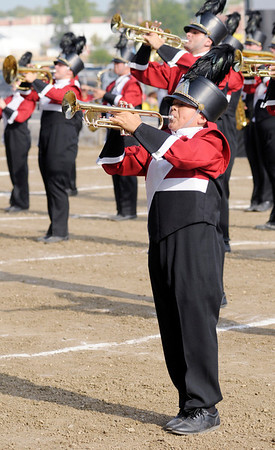 Blas Hernandez performs with the Marching Eagles.