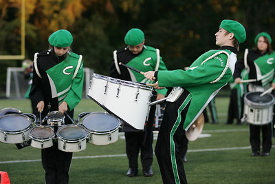 From left, Kiersten Templeton (quads), Sam Gunther (bells), and Cole East (quads) perform at band-O-Rama with the Columbia HS Marching band. photo by Ray Riedel