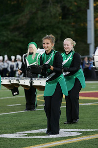Sara Aniol, in front, of the Columbia Marching band color guard begins a dance routine. photo by Ray Riedel