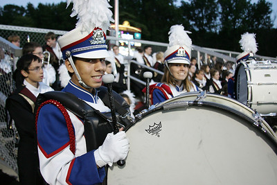 Armand Ortiz on bass drum minuts prior to performing at band-O-Rama. photo by Ray Riedel