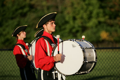 Clay Wright with bass drum, enters into the Avon lake high school stadium with the Open Door High School marching band for band-O-Rama. photo by Ray Riedel