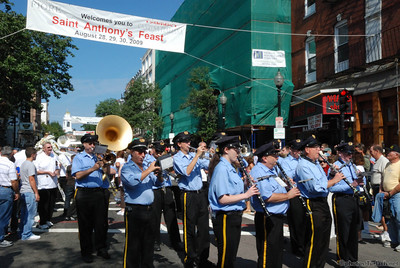 A Marching band plays during the Saint Anthony's feast in Boston's North End.