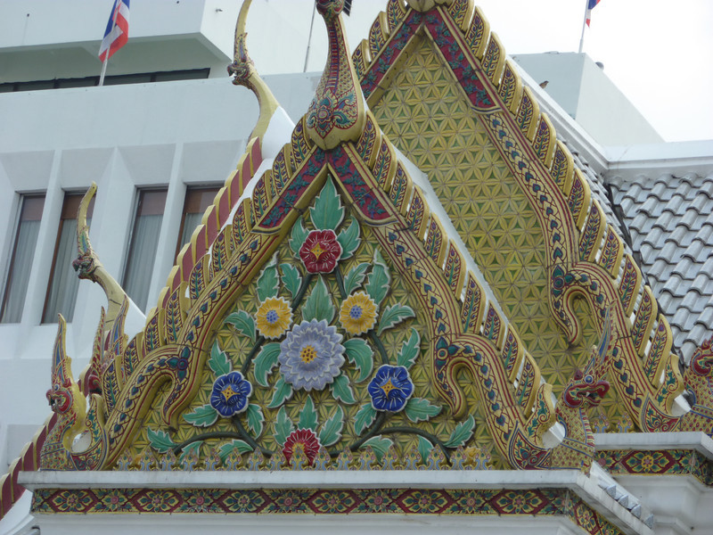 Tile flowers on top of the city of Bangkok temple.  They were really pretty and unlike any we'd seen before.