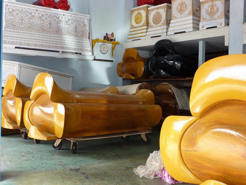 Crazy wood caskets in casket store, Chinatown, Bangkok