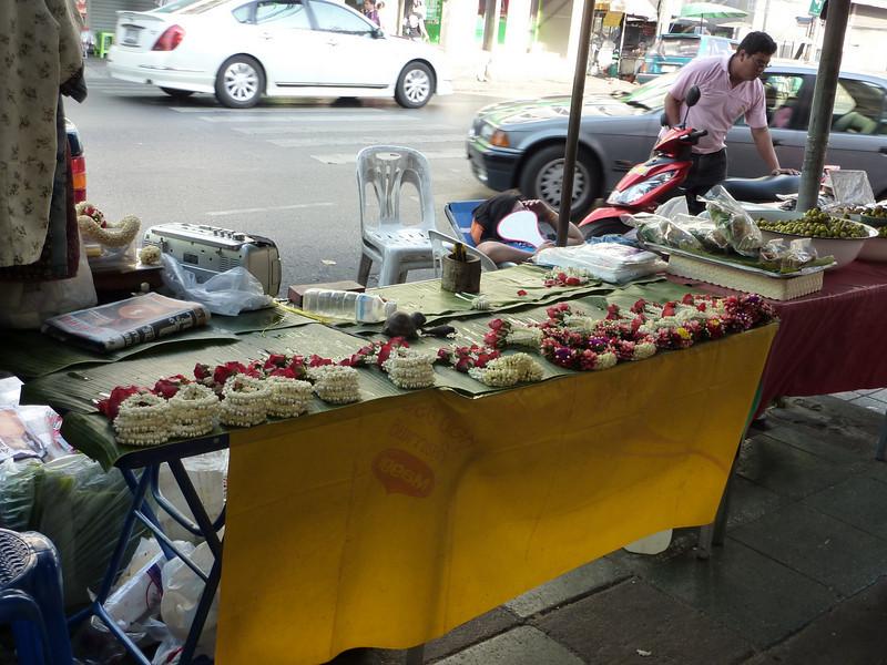 Fresh flower garlands, bracelets, Buddhist offerings, in Chinatown