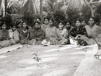 "girls' ""WASH cluster meeting."" somewhere in rural faridpur district."