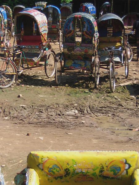 rickshaw yard.  dhaka