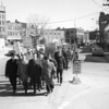 Nearly 500 people marched in Bangor for civil rights on March 14, 1965, after a Boston minister was beaten t o death in Selma, Ala. Participants included (front row) Glenn Payne (second from right), president of the Bangor NAACP, and the Rev. Philip Palmer (left) president of the Bango9r-Brewer Council of churches.  (BANGOR DAILY NEWS FILE PHOTO BY SPIKE WEBB)