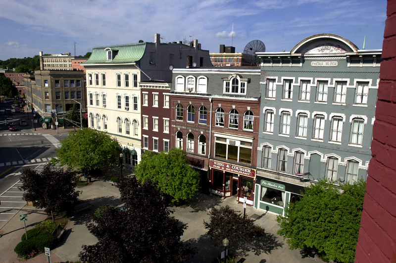 West Market square escaped the Great 1911 Bangor Fire and its handsome 19th century buildings are intact. (BANGOR DAILY NEWS PHOTO BY LINDA COAN O'KRESIK)