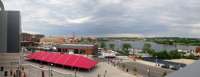 A look at the Anacostia River.  You can see a ship docked at the Navy Yard up-river of the ball park.