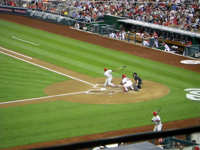 Jimmy Rollins ungracefully striking out.