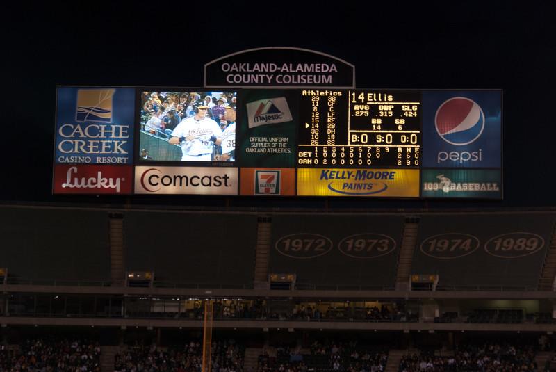 Oakland A's Scoreboard