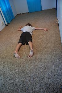 Jeremy really, really likes the new carpet!