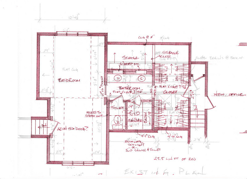 Proposed layout(red) overlaying existing layout (black) - Toilet & Shower flipped