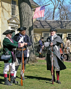 Minutemen At Rest Infront Of Buckmans Tavern Before The Fight
