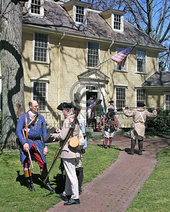 Minutemen Await Orders Outside Buckmans Tavern