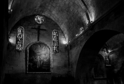 Inside Saint-Vincent Church in Baux de Provence village, France