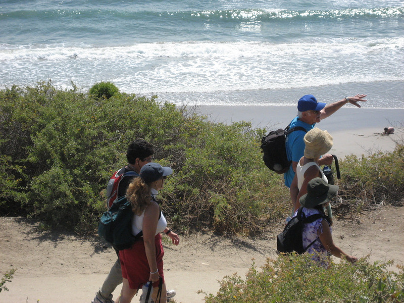 And we're off.  Following the trail from the Bates Beach Park on the bluff down the trail and onto the ocean sand.
