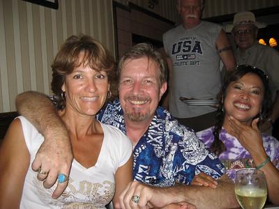 Ann & Bob, Bill, Ron and Tami sunset beach walk & dinner in Carpinteria, CA