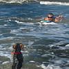 joey and joe take to the surf.