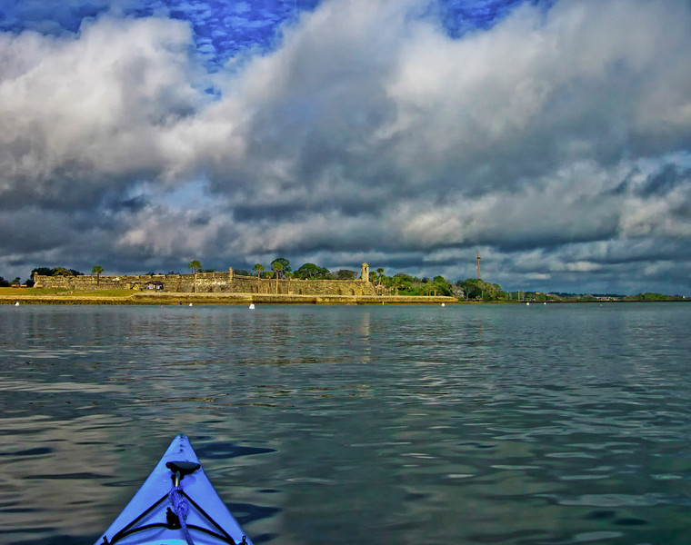 The water hasn't been this glassy calm for a while. Paddling in front of Castillo De San Marcos.