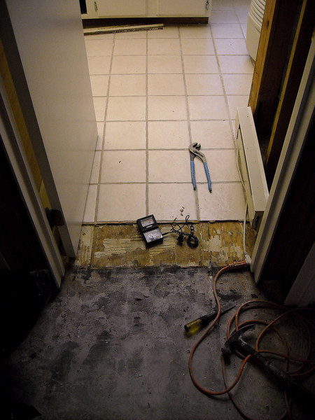 After we took the hardwoods up by the bathroom, Bruce tested the sub floor under the tile for moisture - yup, it was soaked as well.