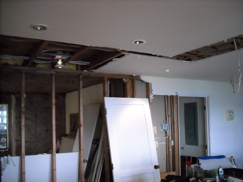 View from the kitchen to the back bedroom.  No more pesky need to go through doors - right through the walls worked fine.
