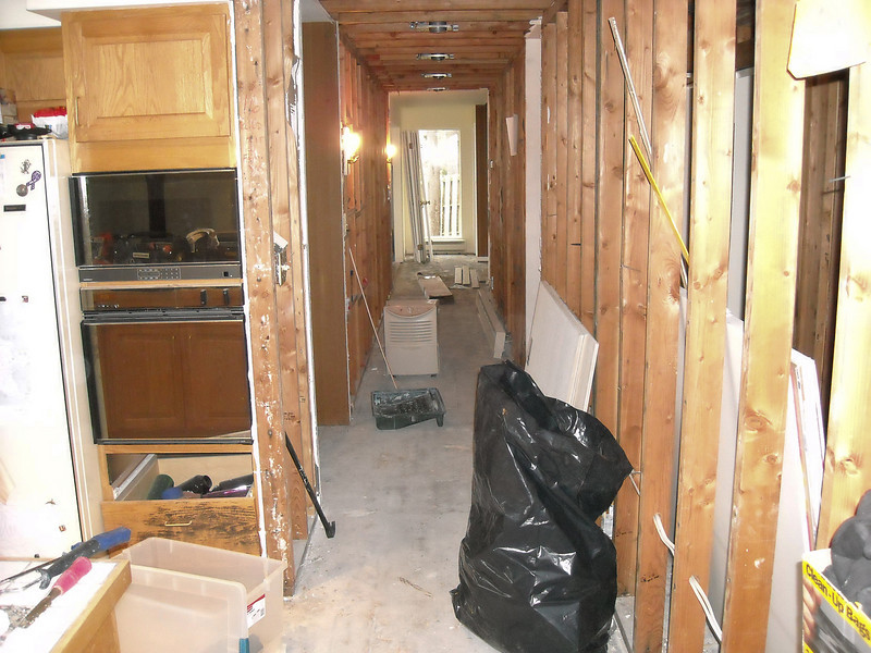 This sheetrock (and the floor) was removed by Bruce.