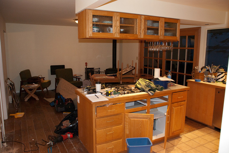 Shot of the old kitchen, as we started to get stuff dried out.