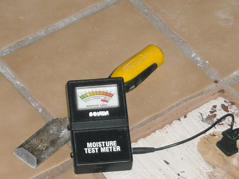 Under the waterproof tile and grout, the wood was 30% water!