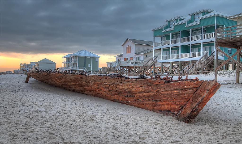 Shipwrecked schooner The Rachel from 1923 - Gulf Shores Alabama