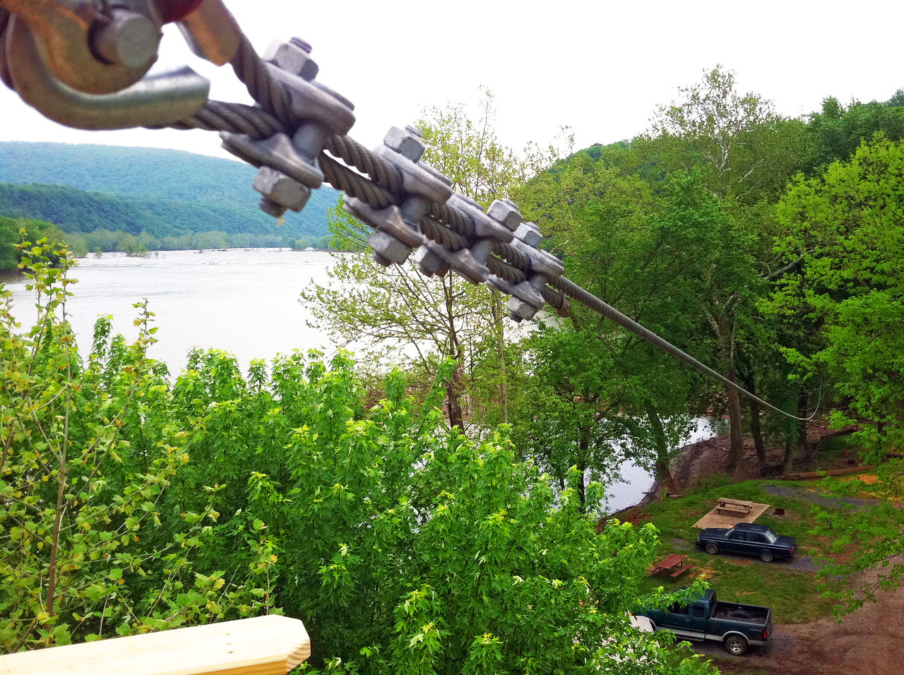 Zip line on Potomac River