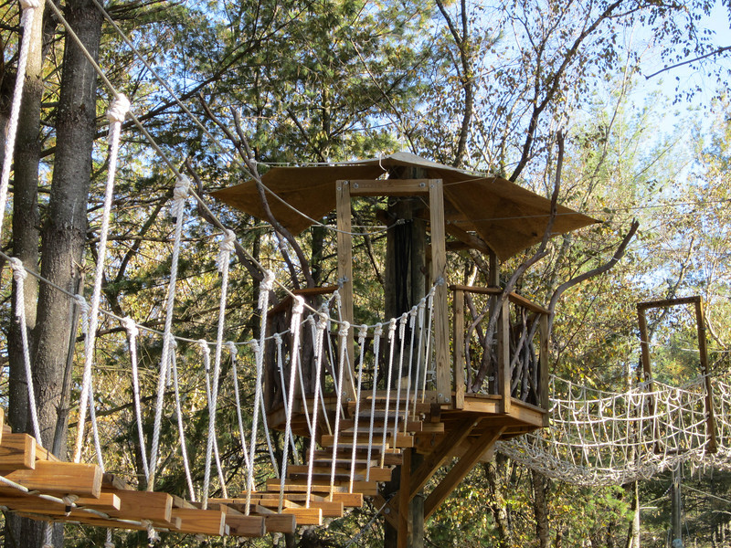 Zip line tree house and shade canopy.
