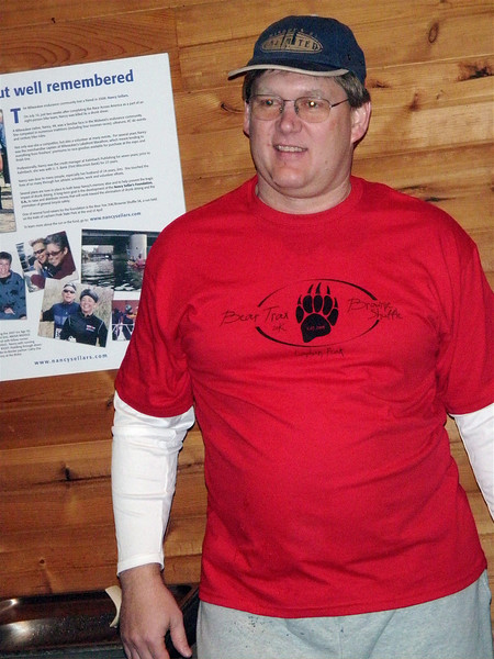 Pat Dunks shows off his new volunteer shirt.