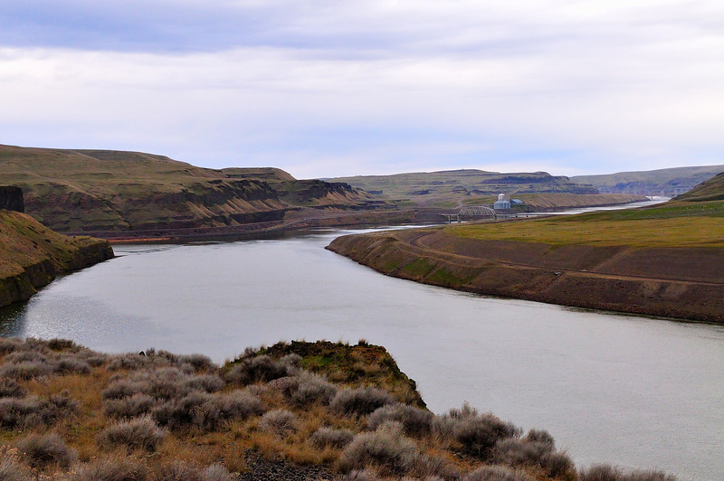 The Snake River is aptly named.  This section, below Little Goose Dam and upstream from Lyons Ferry, is part of Lake Herbert G. West formed by Lower Monumental Dam.  The Tucannon River enters just beyond the point on the left.