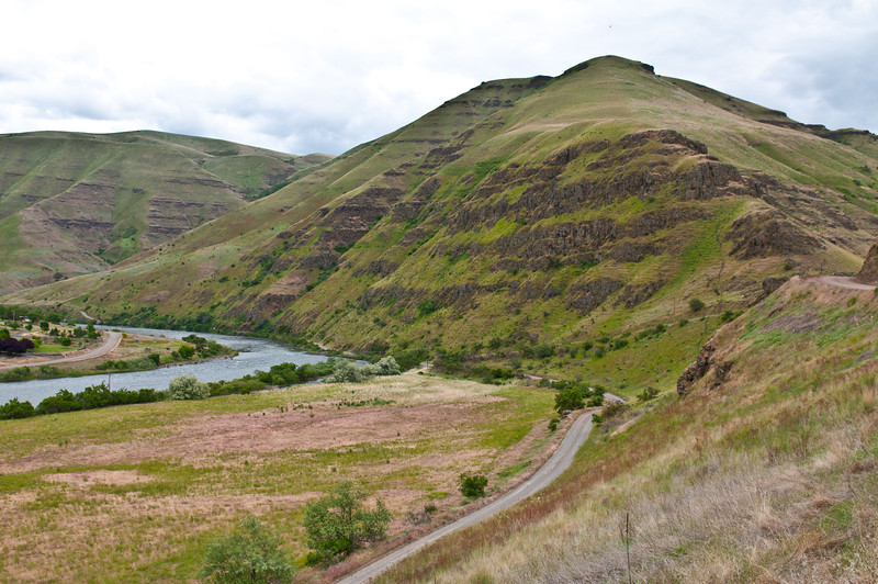Grande Ronde with the road leading downstream to Rogersburg settlement which is located at the juncture with the Snake