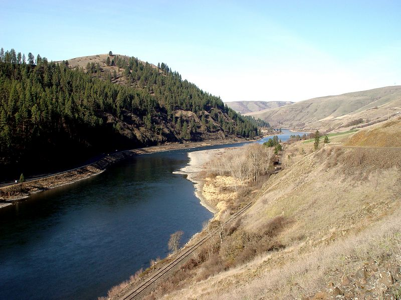Early Spring on Clearwater River at Bedrock Creek showing winter drab look that will get new color later.