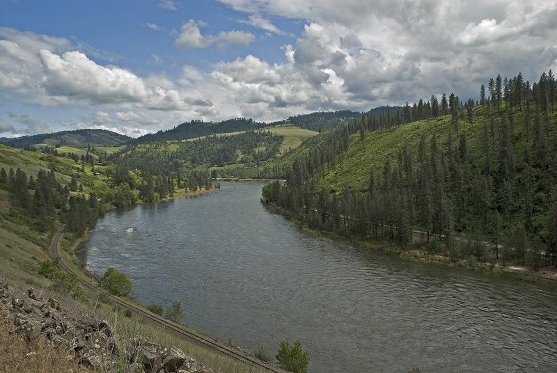 Clearwater River below Agatha, (pronounced Ah  ga' tha), the point projecting on the left.