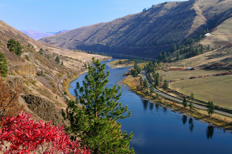 Flaming red sumac colors the Clearwater River's hillsides