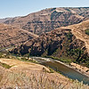 August 18, 2011 view of the Grande Ronde from the same position on Rattlesnake Grade shows clear, normal flow and more color on the hillsides.
