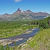 Clark Fork of the Yellowstone with Pilot Peak, 11,208 feet elevation and Index Peak, 10,709 feet.