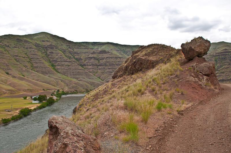 Teetering Rock threatens travelers on the Grande Ronde.  May 26, 2012