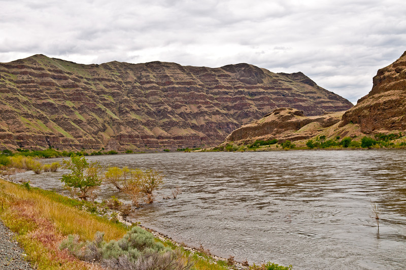 Basalt ripples line the sidehills at 5 Mile on the Snake River.  Overcast day, May 26, 2012