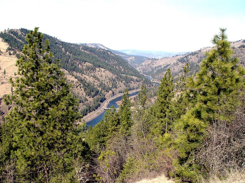 Clearwater River Canyon overview with Greer Bridge crossing.