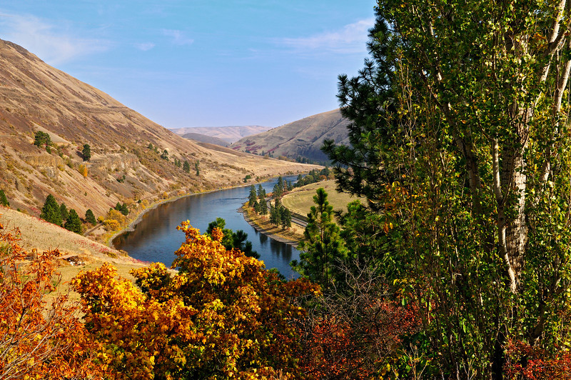 Colorful view from Syringa overlook of the Clearwater River