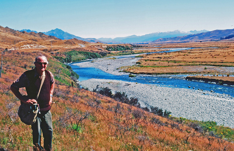 This is my late and dearest friend, Ron Elder of New Zealand.  He is standing on the banks of the Mararoa River, one of the  fine brown trout rivers in the South Island.  The Kodachrome slide was taken in Feburary, 1978.  I had it  scanned now and then I processed it in Photoshop CS5.  Truly pleased that it has produced, from a slide 33 years old, such a fine image and one that I am confident  will also preserve memories for his remaining family.