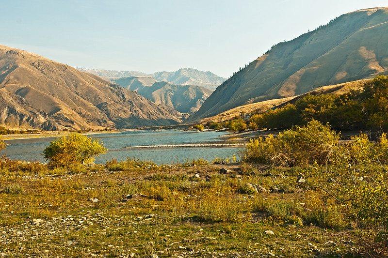 Heller Bar on the Snake River.  Entry to Hells Canyon begins immediately upstream while the Grande Ronde River enters on the right.  Nov 10, 2011 photo.