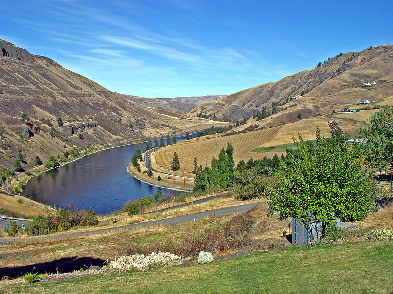 View of the beautiful Clearwater River and its majestic canyon from the patio of our friends, Keith and Carol Stonebraker, who live just a few miles upstream from Lewiston, ID