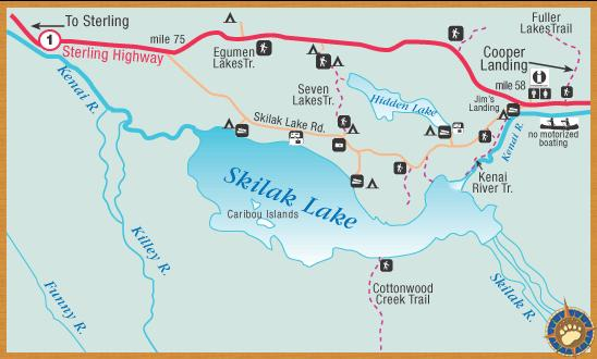 A map from the Internet showing the area around Skilak Lake; interestingly both this map and the map from the ADN article on the following slide have mislabeled Skilak Lake Loop Road as Skilak Lake Road.  Note Jim's Landing at the east end of the road; the trail leading south from that area is is the location for many of the photos in the 'Kenai River' album.